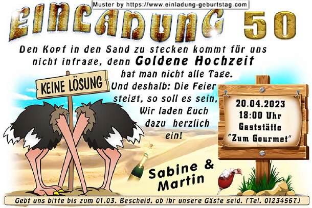 Lustige Einladungskarten Zur Goldenen Hochzeit Mit Witzigen